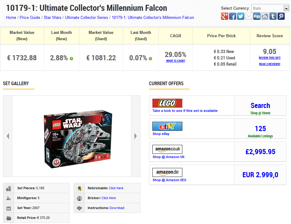Ultimate Collectors Millenium Falcon en Brickpicker.com