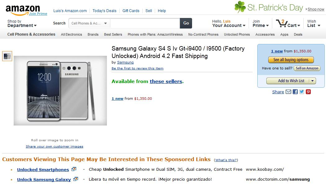 Samsung Galaxy S4 a la venta