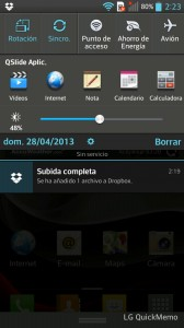 LG Optimus L9 - Área de notificaciones