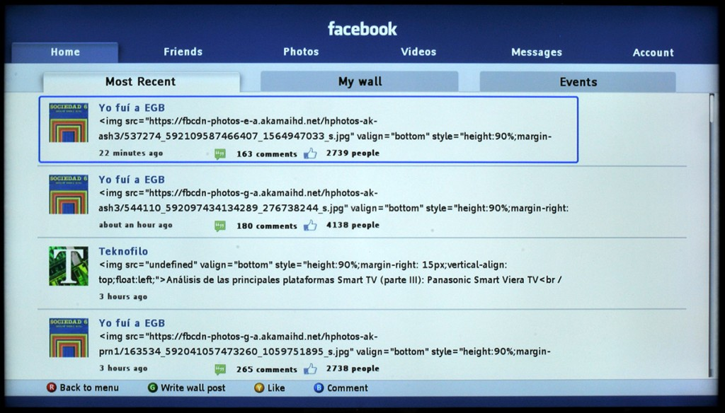 App Facebook para Philips Smart TV