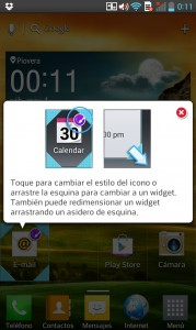 LG Optimus G - Acciones sobre iconos