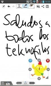 App. Libreta de Notas de LG Optimus G