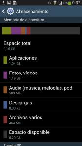 Espacio libre en Galaxy S4