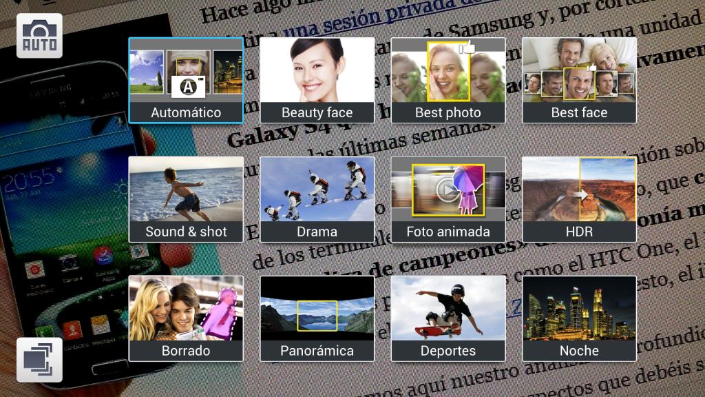Samsung Galaxy S4: Modos de la cámara