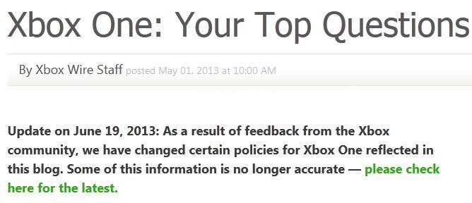 Cambios en políticas de Xbox One