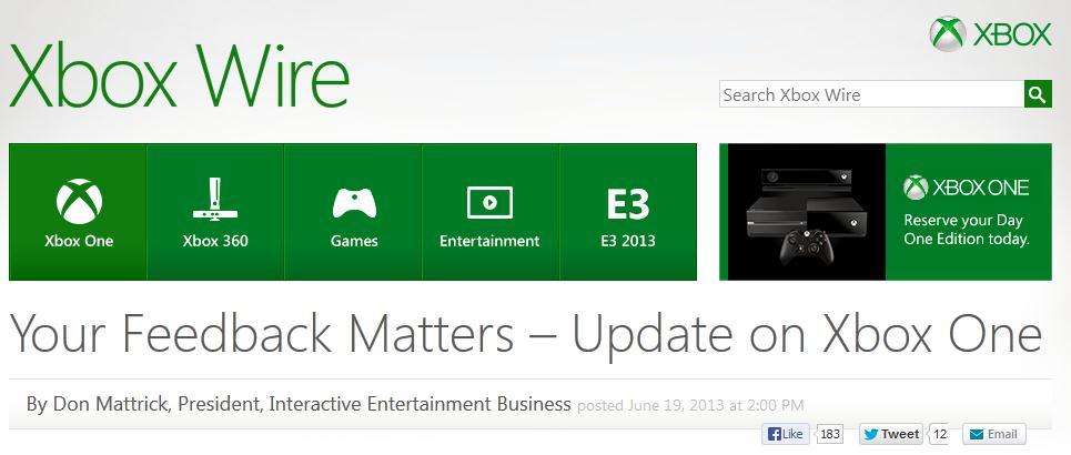 Cambios políticas de Xbox One