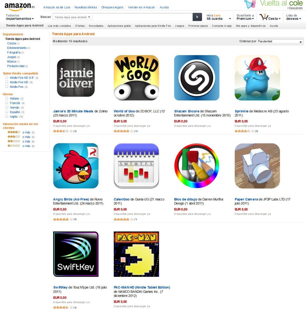 Apps gratuitas en Amazon