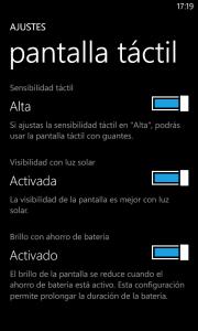 Opciones pantalla