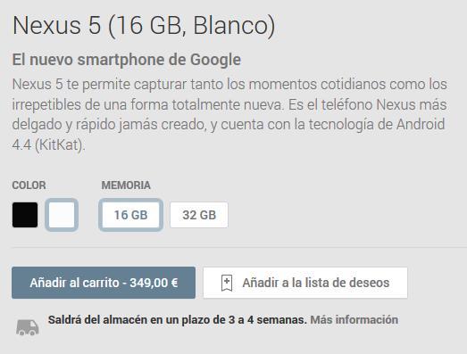 Nexus 5 16 GB agotado