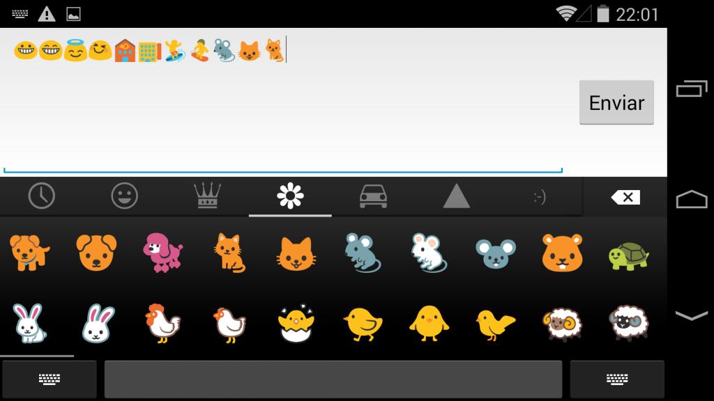Iconos en teclado