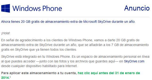 Mensaje de Microsoft