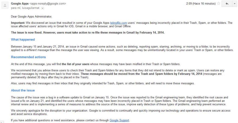 Email de fallo Gmail