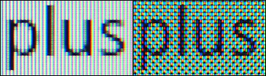 RGB (izqda) vs. PenTile (dcha)