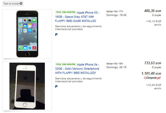 iPhone con Flappy Bird en eBay