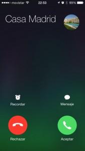 Pantalla de llamada en iOS 7