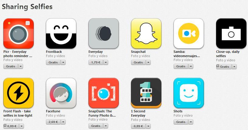 Sección selfies en iTunes