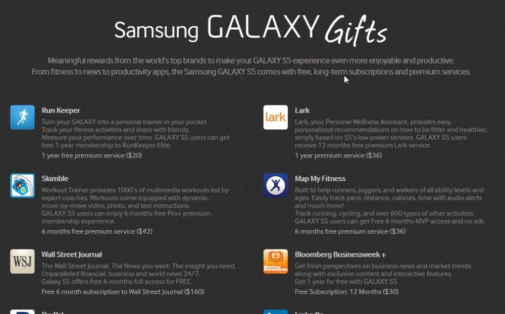 Regalos del Samsung Galaxy S5