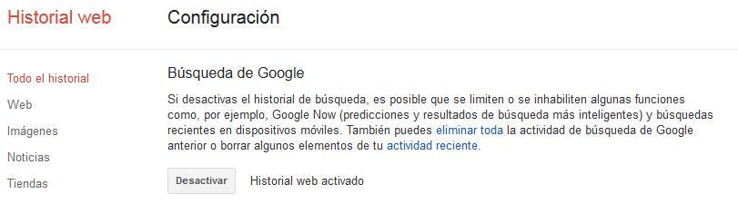 Google Historial Web