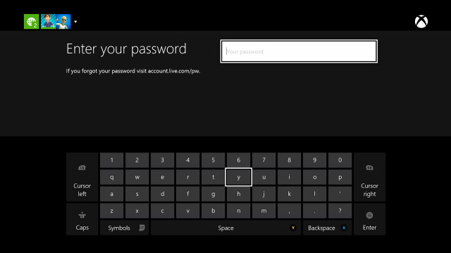 xbox one password