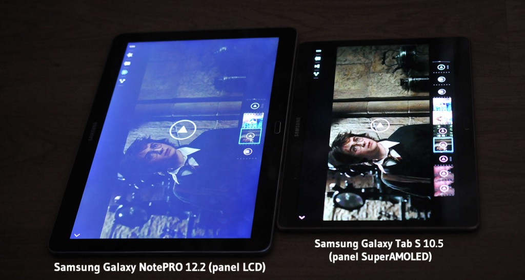 Pantalla Galaxy NotePRO (LCD) vs Galaxy Tab S (SuperAMOLED)