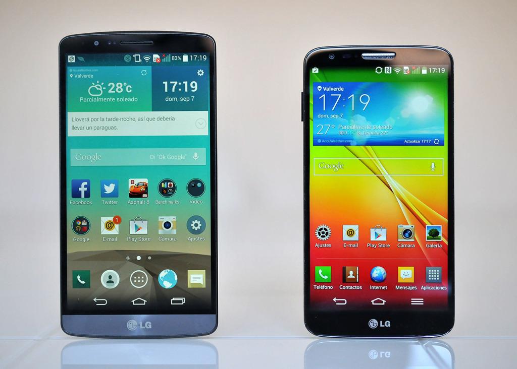 LG G3 (izquierda) y LG G2 (derecha)