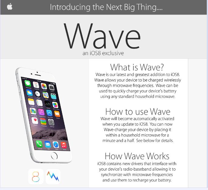 El póster falso de la funcionalidad Wave de iOS 8
