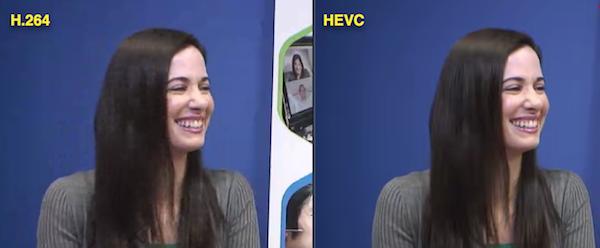 Misma imagen codificada a la misma tasa de bits (420kbps) en H.264 (izquierda) y HEVC (derecha)