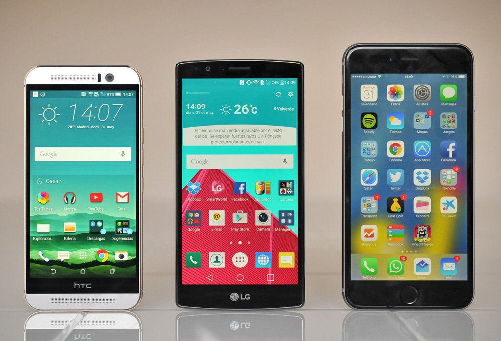 HTC One M9, LG G4 y iPhone 6 Plus