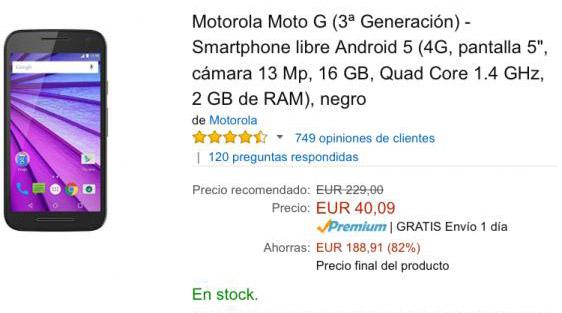moto g a 40 euros