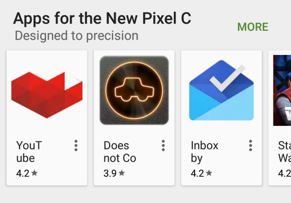 Pixel C en Play Store