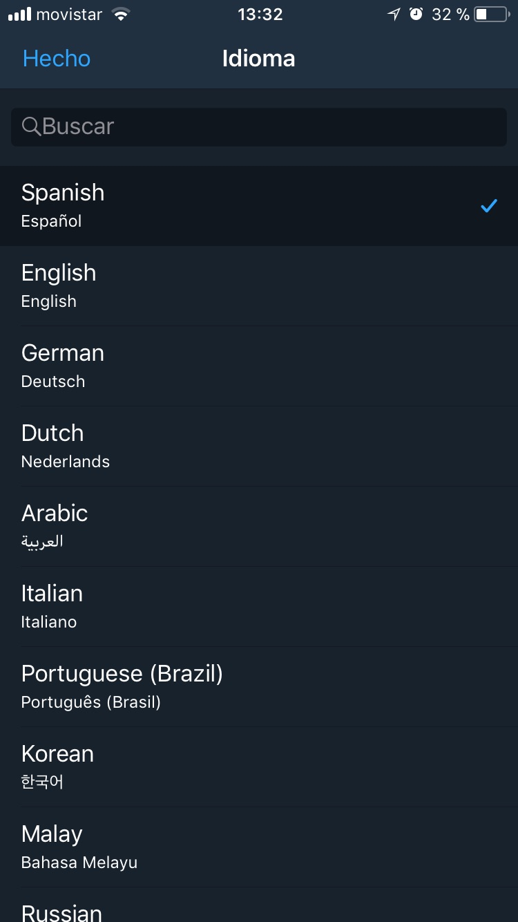 Telegram X | Cambio de idioma