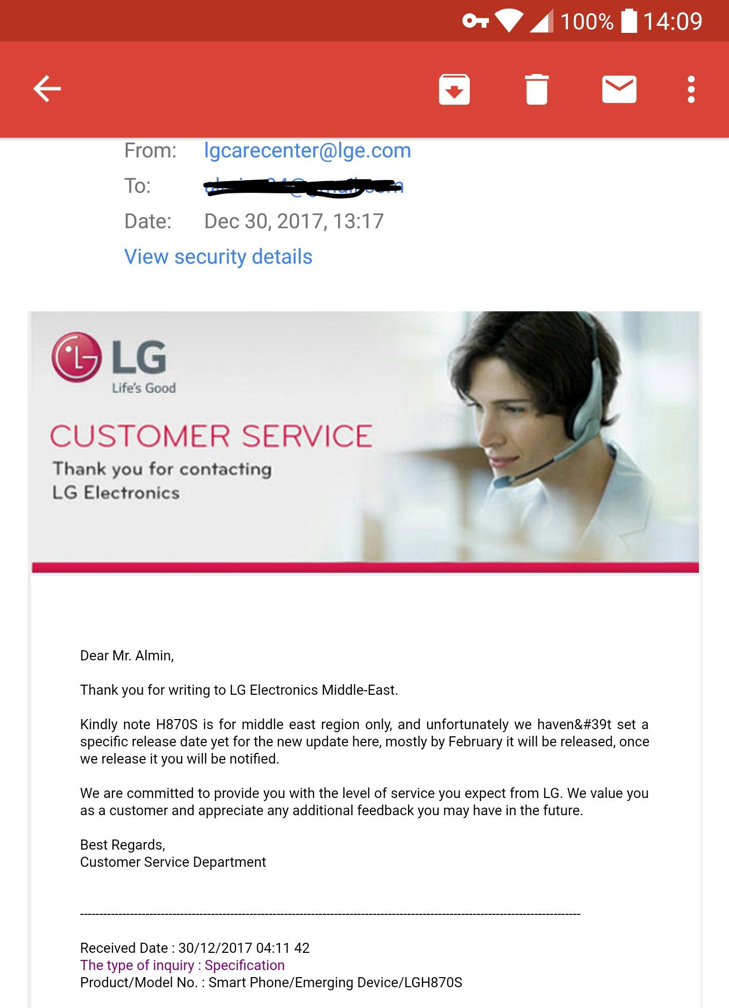 Actualización de Android Oreo para el LG G6