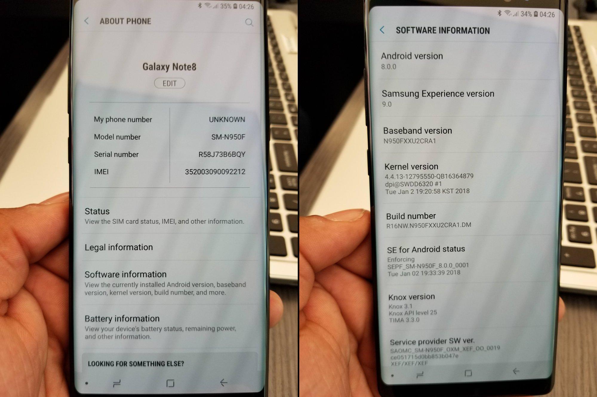 Android Oreo en el Samsung Galaxy Note8
