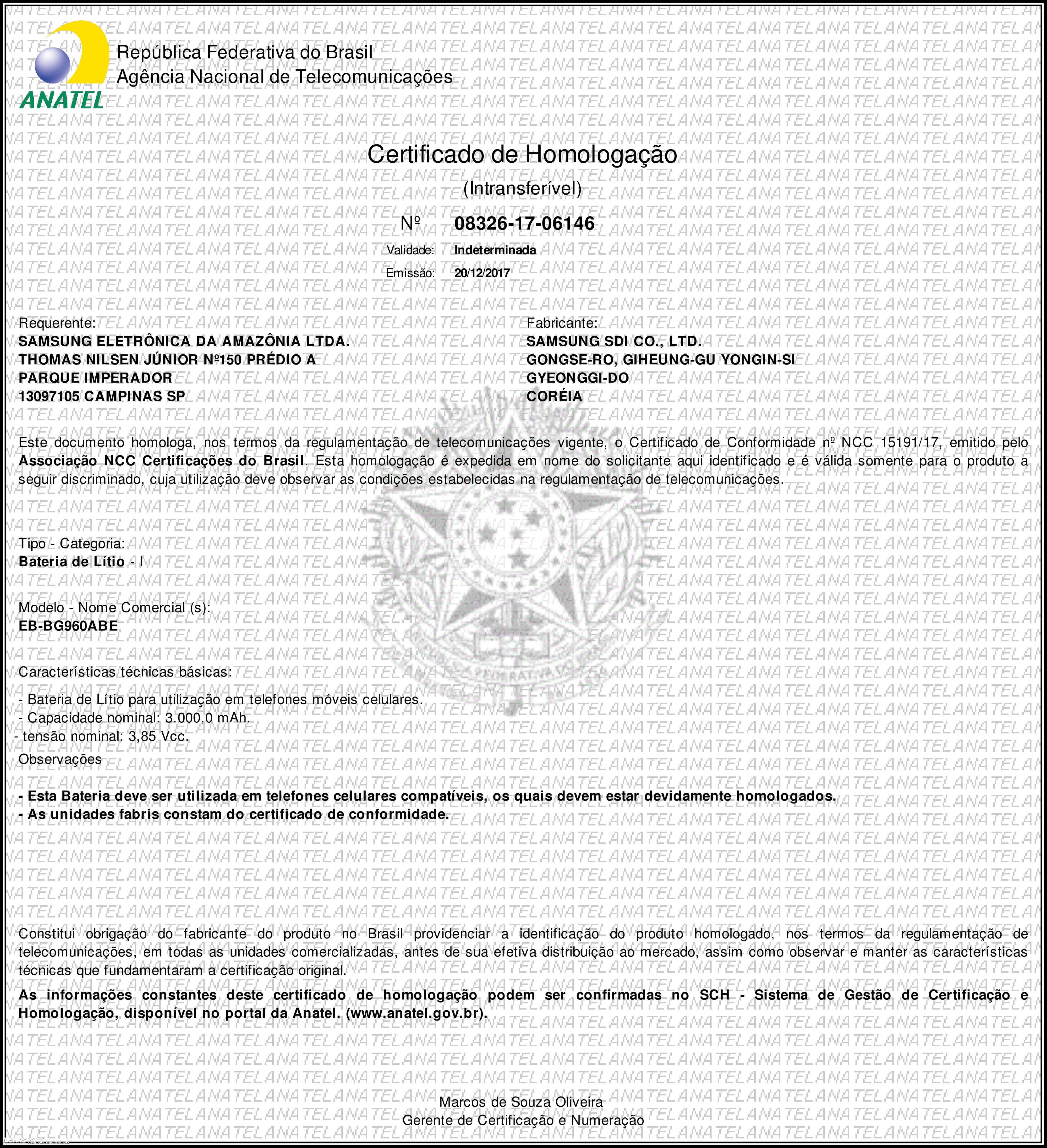 Certificado batería Samsung Galaxy S9