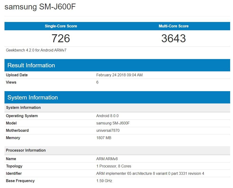 Benchmark filtrado Samsung Galaxy J6