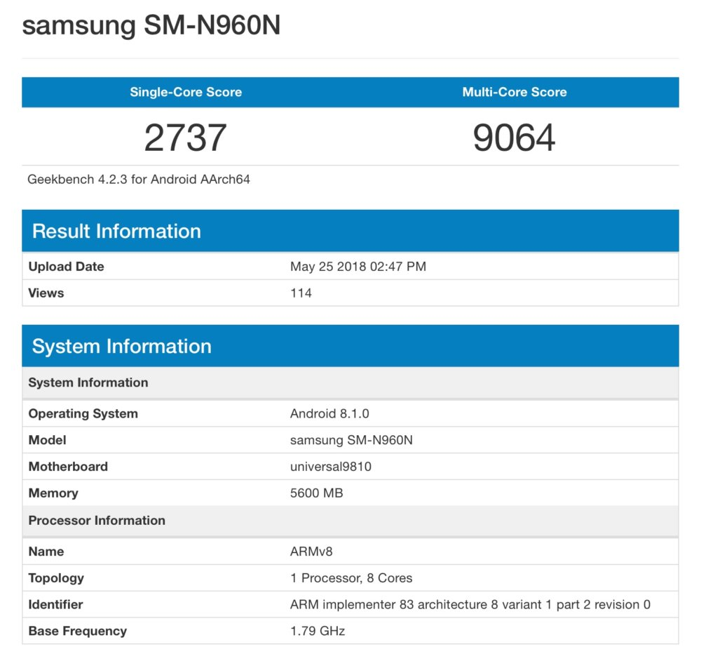 Benchmark filtrado Samsung Galaxy Note9