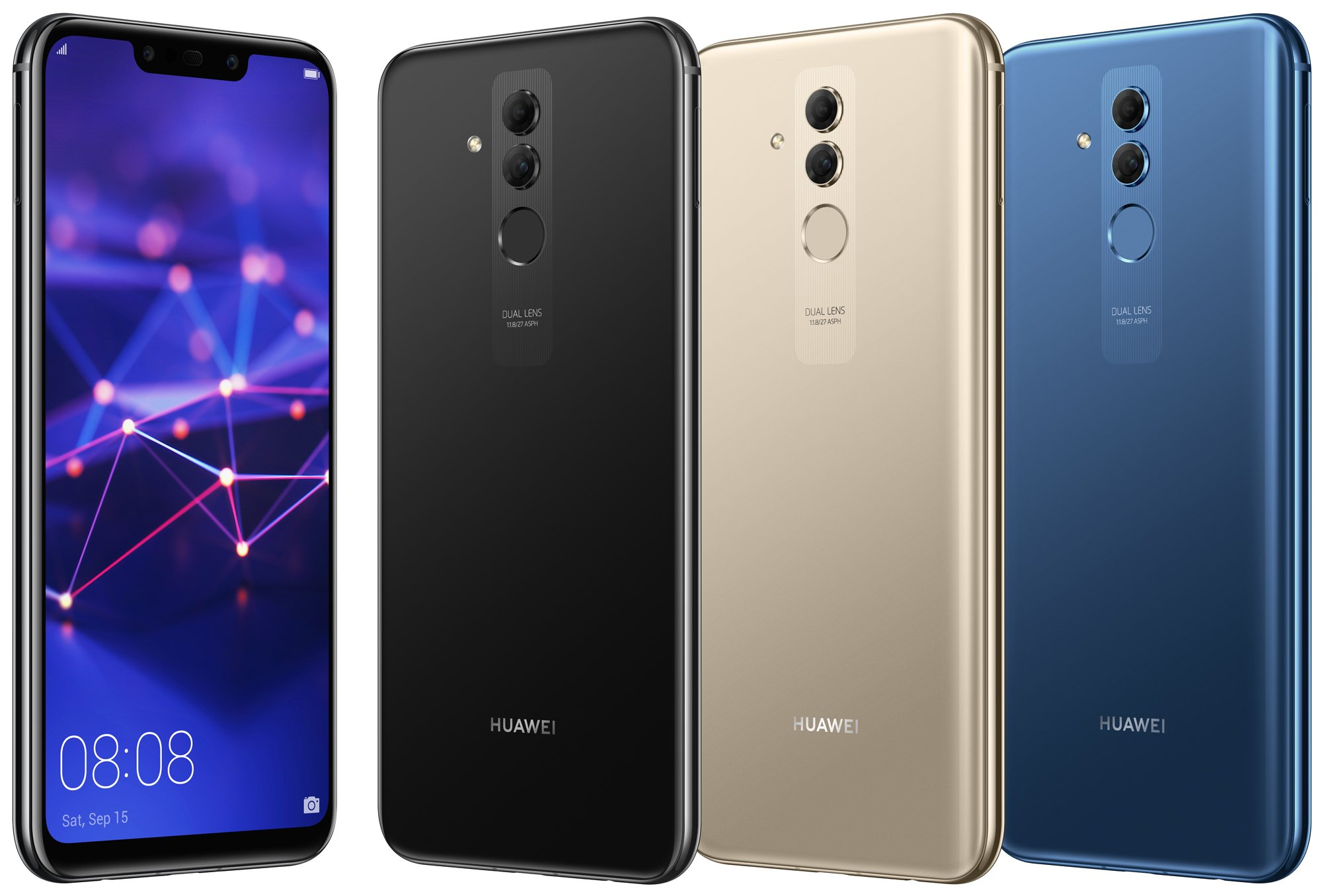 el huawei mate 20 lite se deja ver en sus tres variantes. Black Bedroom Furniture Sets. Home Design Ideas