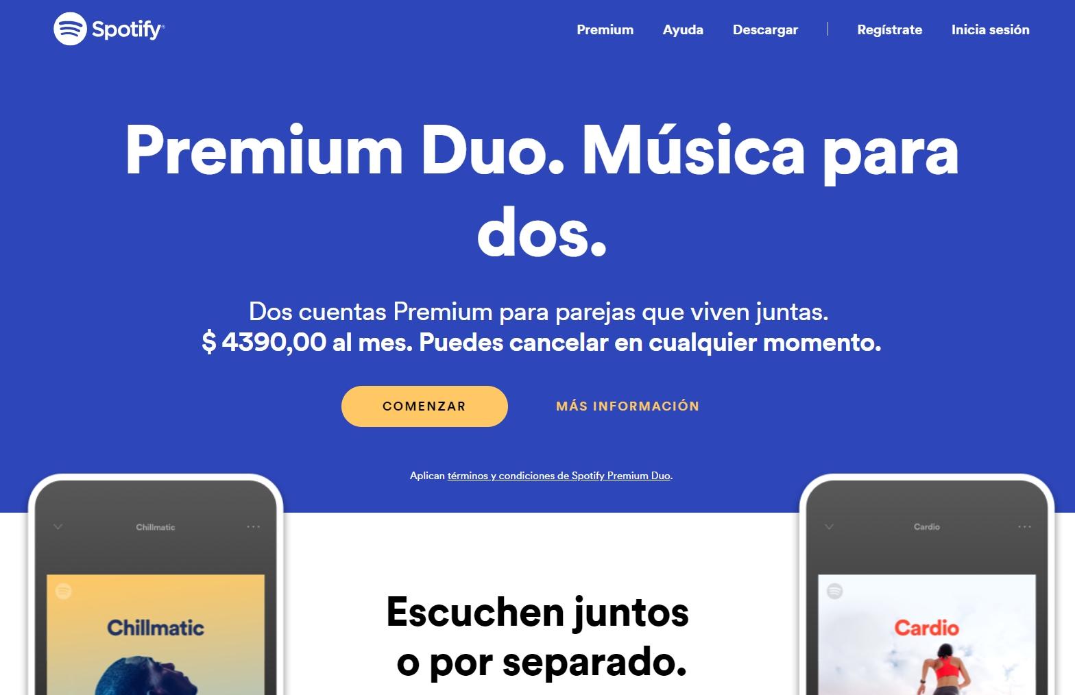 Spotify presenta Premium Duo para parejas que viven juntas